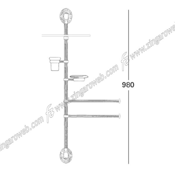 COLONNA DA MURO ATTREZZATA CALLIOPE DA 980 mm. POV (Patinato Oro Vecchio) prodotta da SALICE PAOLO