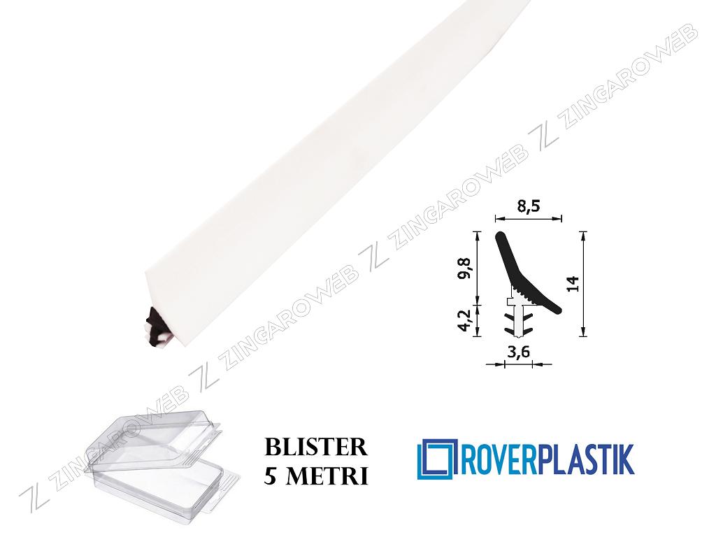 BLISTER GUARNIZIONE PORTE INTERNE LEGNO SENZA PROTEZIONE mm.8,5x9,8h mt.5 prodotta da ROVERPLASTIK