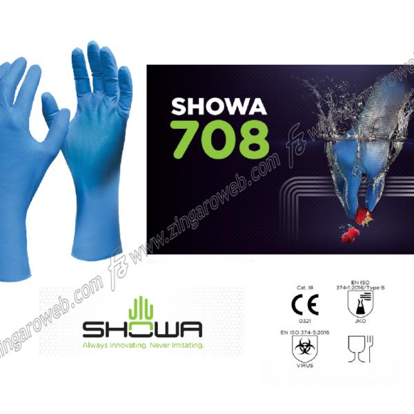 GUANTO NITRILE MONOUSO BLU PER ALIMENTI mm.300 SPESSORE 0.23mm pz.48 TG.8-9 L prodotto da SHOWA