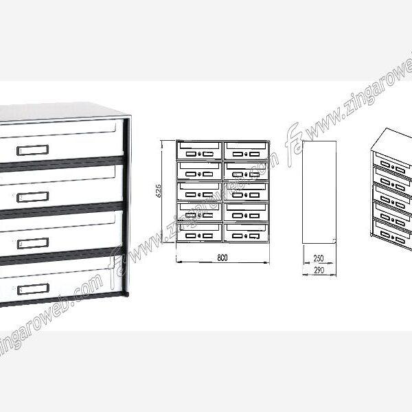 CASSETTA POSTALE STANDARD mod.OPEN-AIR SC5 mm.400x290x125 CON RITIRO POSTERIORE prodotto da SILMEC