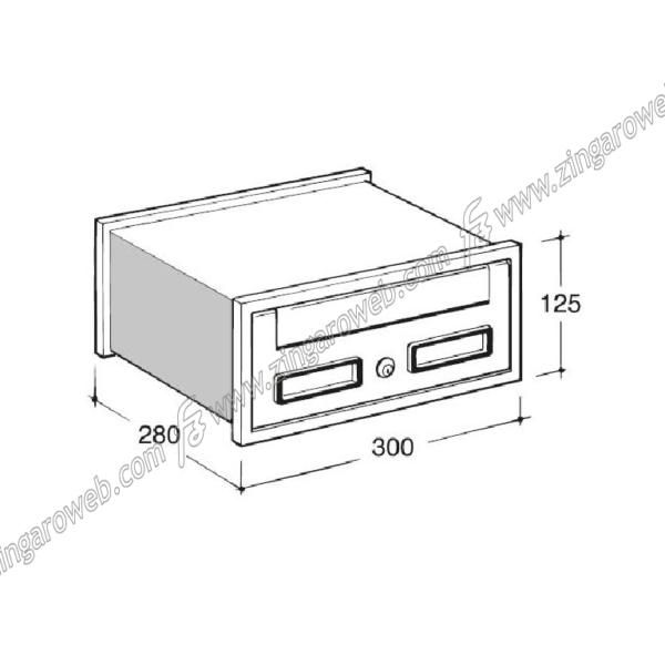 CASSETTA POSTALE INCASSO ESTERNO ORRIZZONTALE mod.SC1 mm.300x280x125 SILVER prodotta da SILMEC