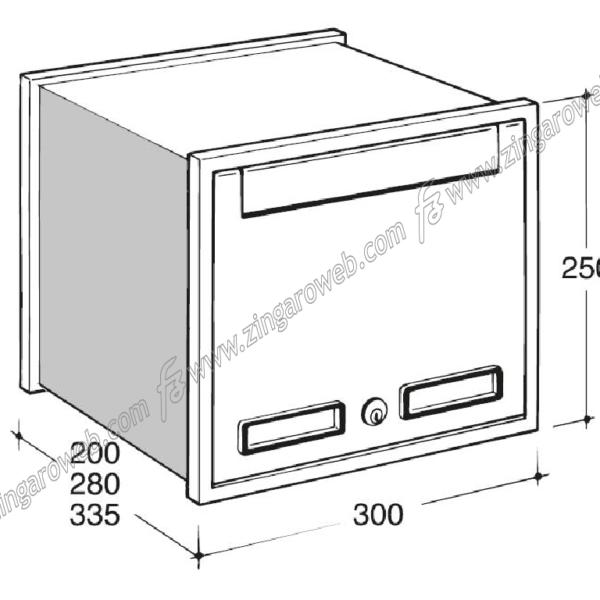 CASSETTA POSTALE INCASSO ESTERNO ORRIZZONTALE mod.SC2 mm.300x280x250 SILVER prodotta da SILMEC