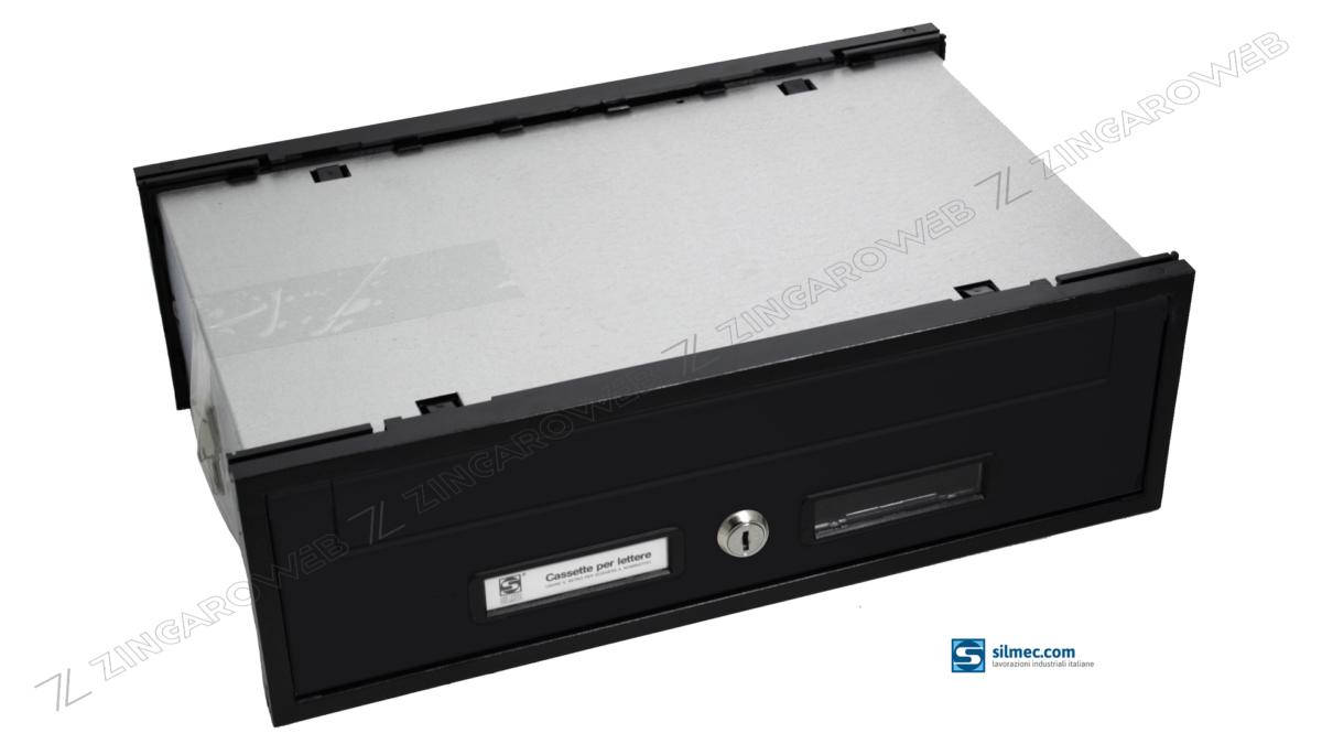 CASSETTA POSTALE INCASSO ESTERNO ORRIZZONTALE mod.SC3 RITIRO POSTERIORE mm.300x280x125 GRIGIO FERRO prodotto da SILMEC