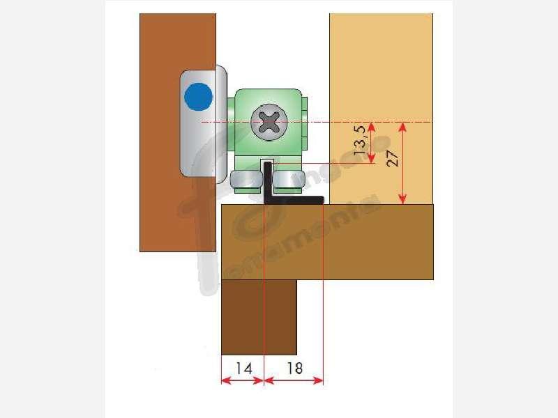 BINARIO ALLUMINIO ARGENTO ZIG ZAG WALL 18x13,5 mm. LUNGHEZZA 3 mt. prodotto da TERNO SCORREVOLI