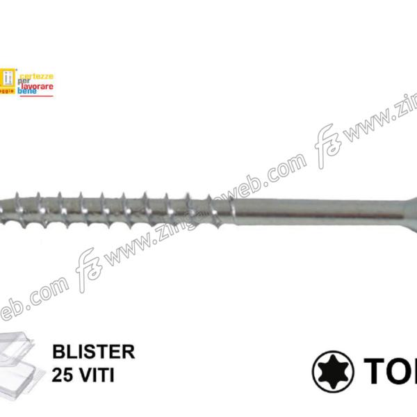 BLISTER VITE TRUCIOLARE TSP IMPRONTA TORX TX25 ZINCATE pz.25 mm.5,0 prodotto da TECFI