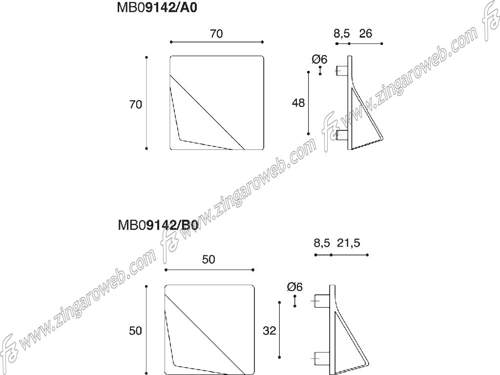 MANIGLIETTA MOBILE INTERRASSE 48 DA 70x70 mm. FOLD prodotta da CONFALONIERI