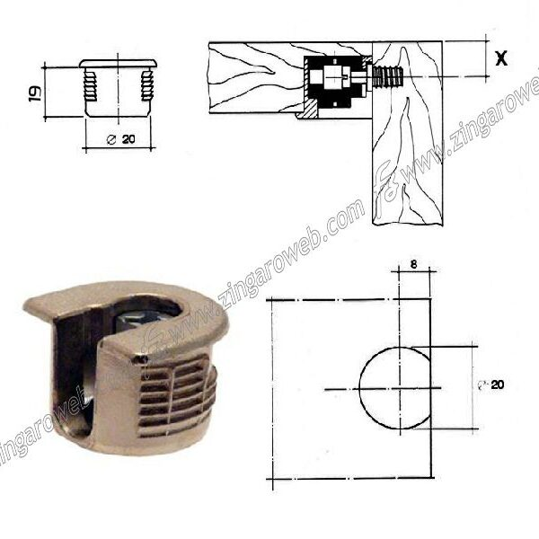 GIUNZIONE ECCENTRICA PER RIPIANI mm.20x19h METALLO NICHELATO prodotto da WURTH