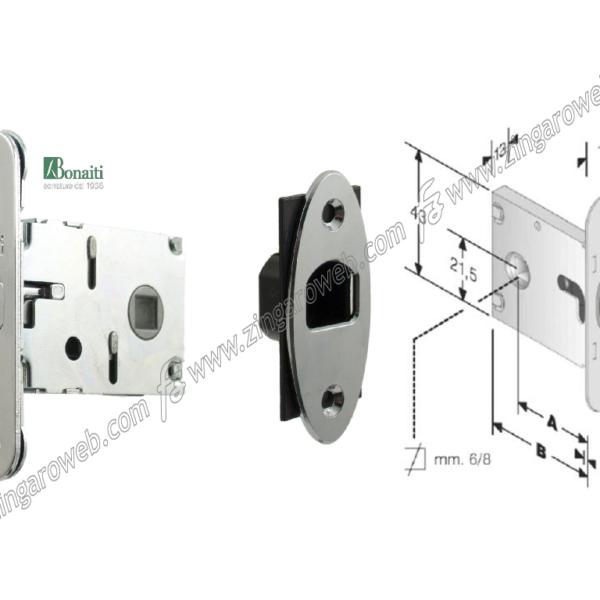"""SERRATURA INFILARE GANCIO """"G500 031"""" Q8+NICCHIA FRONTALE 18x86 mm. ENTRATA 50 mm. prodotto da BONAITI"""