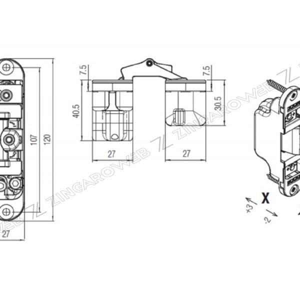 CERNIERA INVISIBILE REGOLABILE 3D mod.K2700 mm.120x76 REVERSIBILE CROMO SATINATO prodotto da KOBLENZ