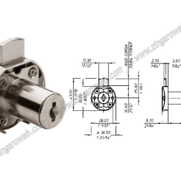 SERRATURA DA APPLICARE CON CILINDRO NICHELATA MK DIAMETRO 16 mm. prodotto da MERONI